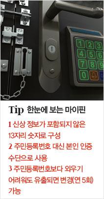 TIP 한눈에 보는 마이핀 1.신상 정보가 포함되지 않은 13자리 숫자로 구성, 2.주민등록번호 대신 본인 인증 수단으로 사용, 3.주민등록번호보다 외우기 어려워도 유출되면 변경(연 5회) 가능