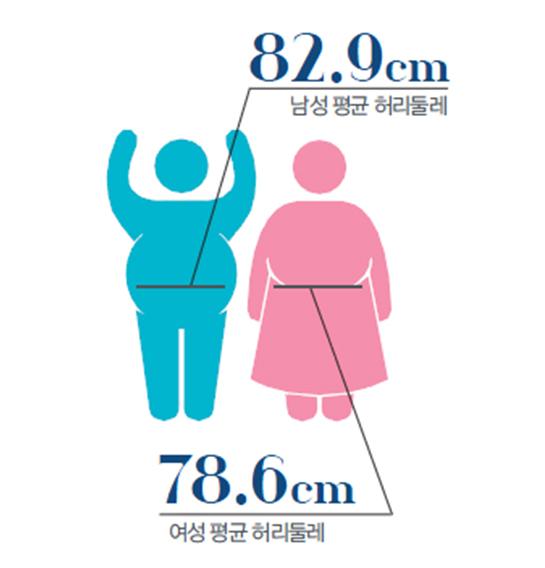 남성 평균 허리둘레 83.9cm, 여성 평균 허리둘레 78.6cm